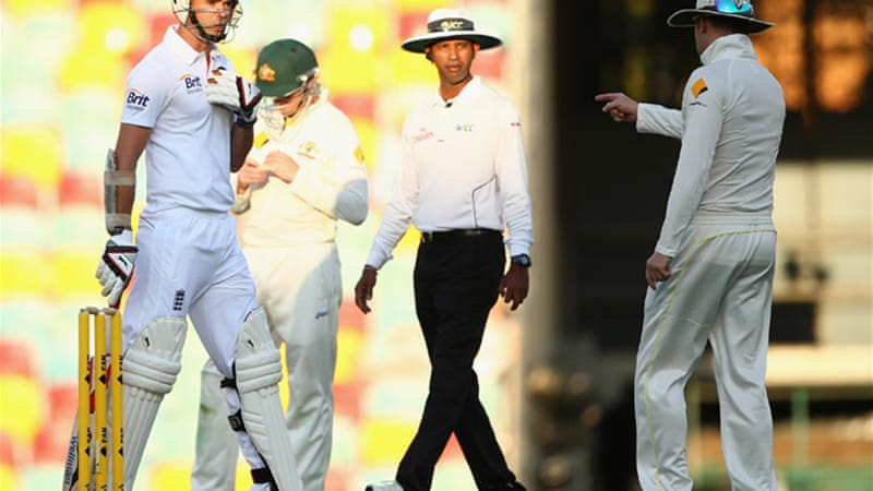 Michael Clarke, right, has been fined for threatening England's James Anderson in the first Test  [Getty Images]