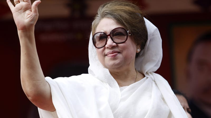 Former Prime Minister Khaleda Zia has staged a series of general strikes to press for Hasina's resignation [EPA]