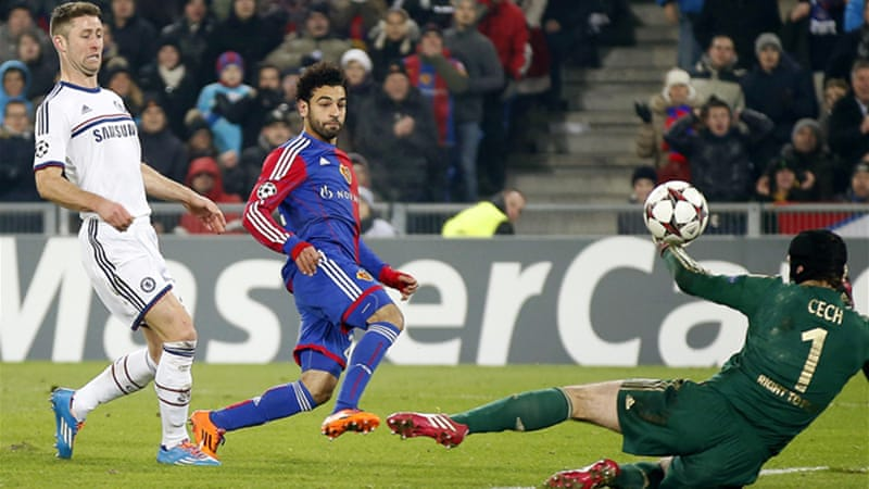 Mohamed Salah's late strike earned Basel a 1-0 win over the 2012 champions [EPA]