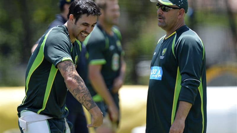 Coach Darren Lehmann, right, with Mitchell Johnson, has spoken out over the sledging [Getty Images]