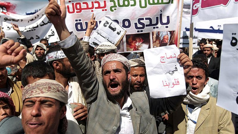 People protest in the capital, Sanaa, against the sectarian fighting in country's remote northern province [AFP]