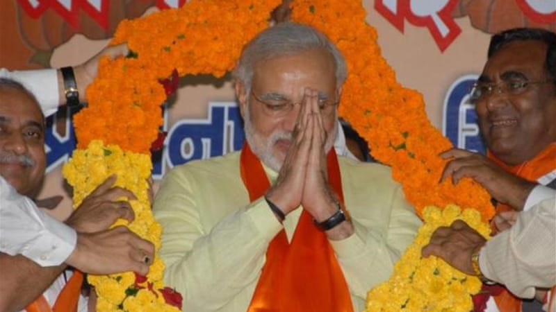 Narendra Modi, the chief minister of Gujarat, is the BJP's prime ministerial candidate [AFP]