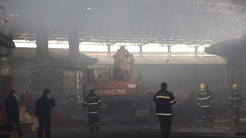 The Rongjian Farmers' Market in Shenzhen was destroyed by the fire within two hours [AFP]