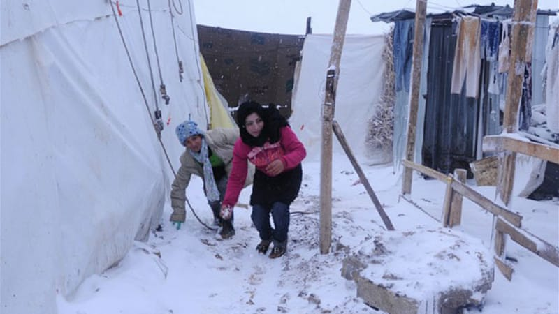 The weather has been worse in the Bekaa Valley, which is dotted with informal refugee camps [AFP]