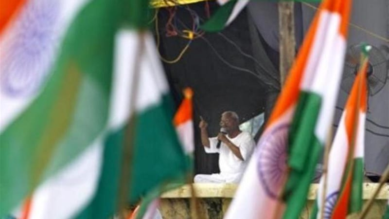 Activist Anna Hazare is on an indefinite fast, pressing for the enactment of the anti-corruption law.