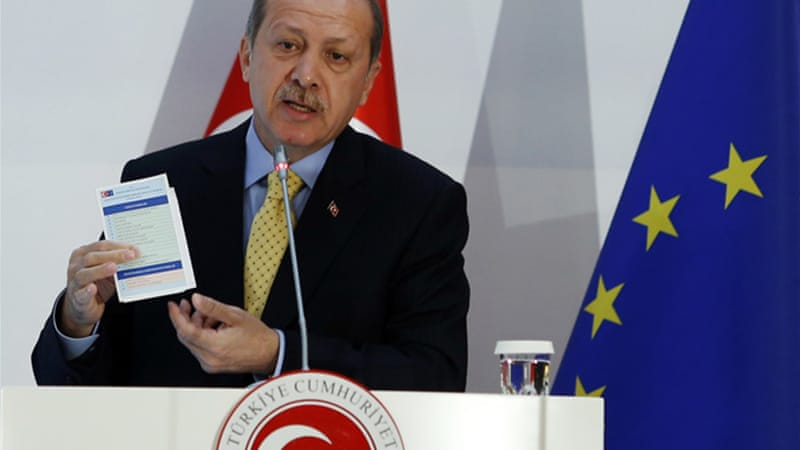 "Turkish PM Erdogan said the agreement marked ""a new process in Turkish-EU relations"" [Reuters]"