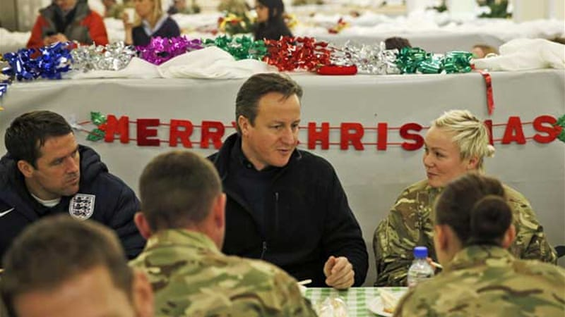 The British prime minister made the remarks during a pre-Christmas visit to troops in Afghanistan [Reuters]