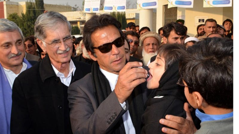 The politician has said he will lead on anti-polio efforts in the province of Khyber Pakhtunkhwa [AFP]