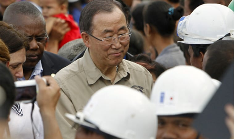 "The typhoon cannot become another ""forgotten crisis"", Ban-ki moon has said. [Reuters]"