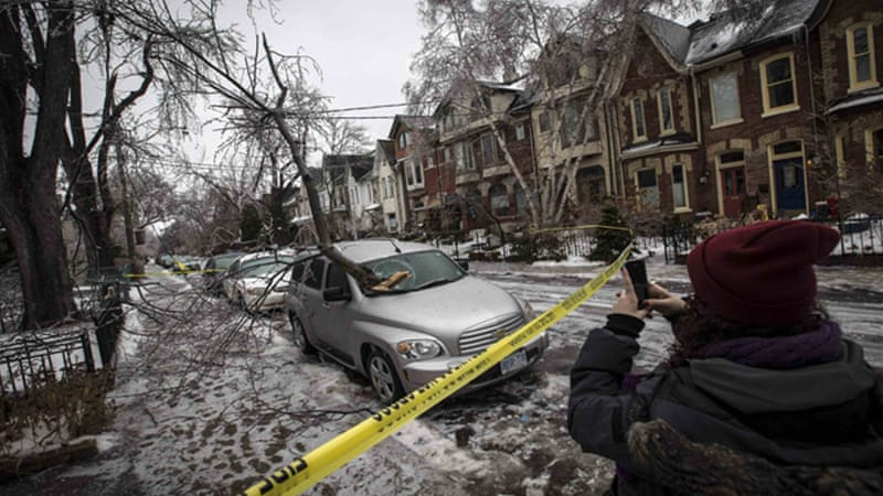 Utility companies said power outages hit more than 400,000 customers in Canada's major provinces. [Reuters]