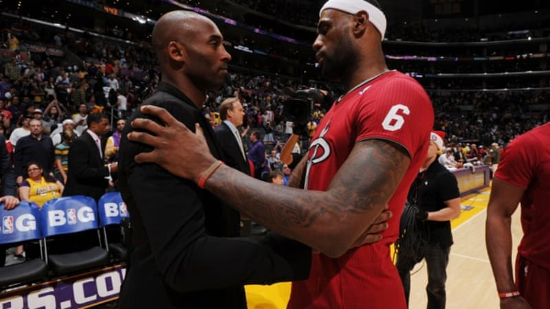 NBA giants Kobe Bryant, left, and LeBron James  shared a post-game hug [Getty Images/AFP]
