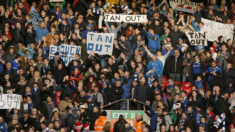 Cardiff City's fans showed their support for manager Malky Mackay after their clash with Liverpool at Anfield [Reuters]