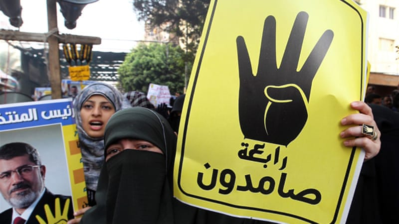 Supporters of ousted President Morsi oppose the interim government, and demand Morsi's return [EPA]