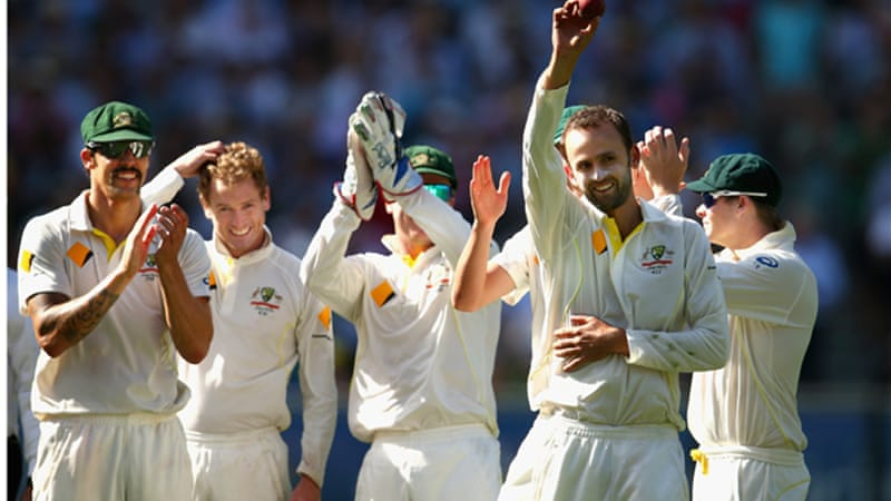 Nathan Lyon of Australia celebrates taking his fifth wicket during day three of the Fourth Ashes Test [Getty Images]