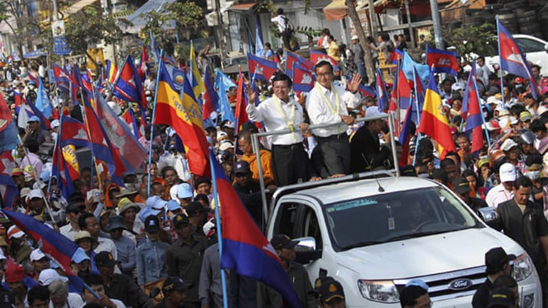 Opposition leader Sam Rainsy addressed the rally in Phnom Penh [Reuters]