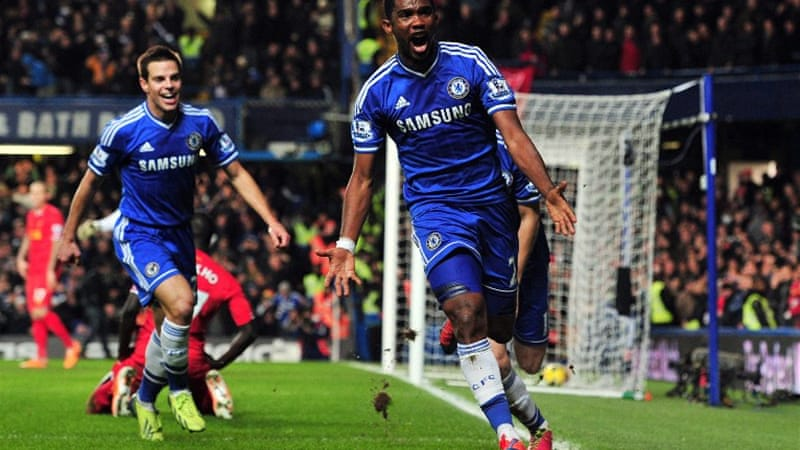 Cameroon striker Samuel Eto'o celebrates scoring for Chelsea against Liverpool at Stamford Bridge [AFP]