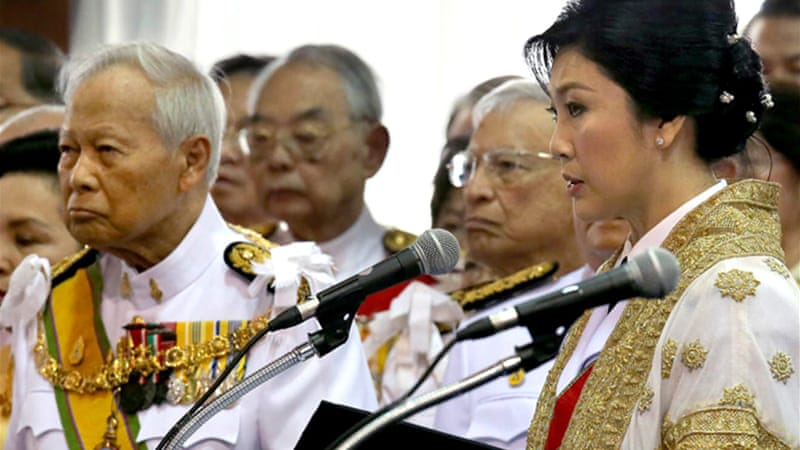"Yingluck, right, has been accused by protesters of running a ""Thaksin regime"" [AFP]"
