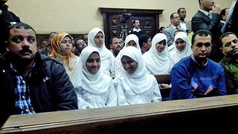 The juvenile court in Alexandria is hearing the appeals of seven jailed teenage girls [Mohamed Fouad/Facebook]