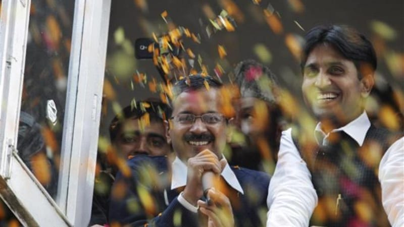 Arvind Kejriwal, leader of the newly formed Aam Aadmi (Common Man) Party, is making gains in advance of the 2014 elections [AP]