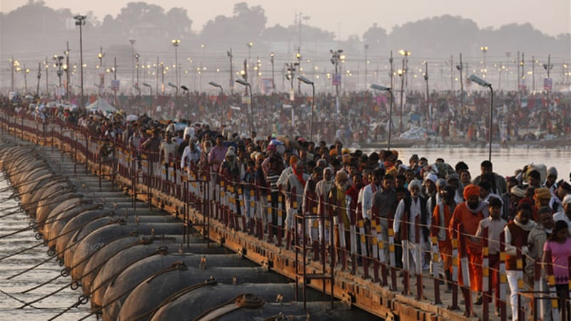 The population of Allahabad has swollen from  1.2 million to about 40 million for the duration of the festival [EPA]