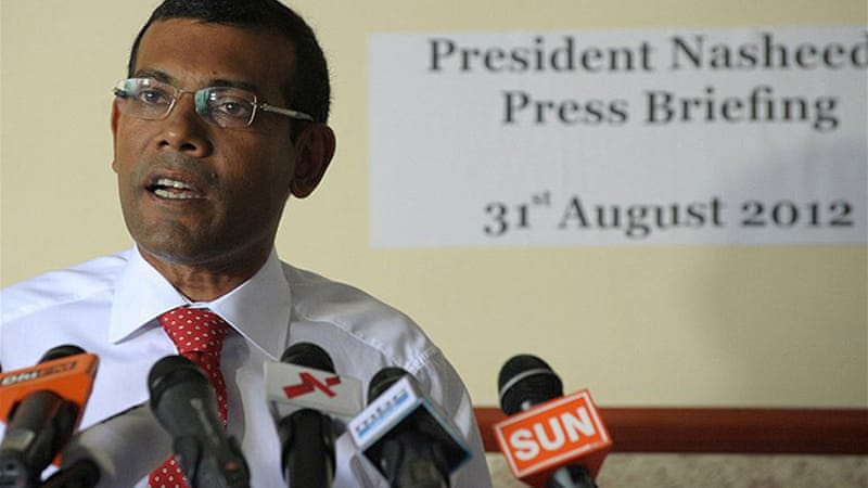 Nasheed left the embassy after the Indian envoy won assurances that he would be free to campaign in elections [AFP]