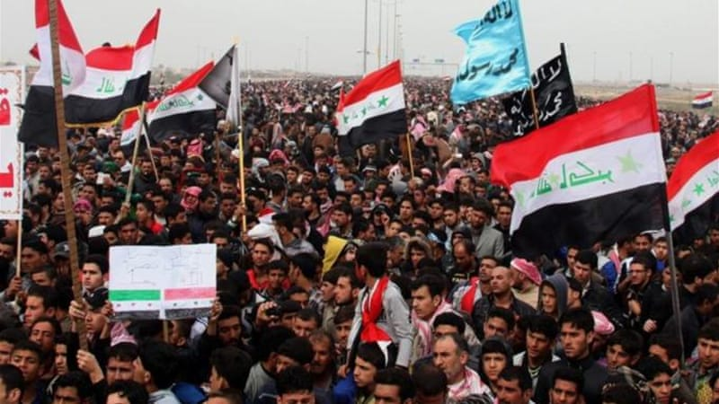 Tensions are high in Iraq as thousands of Sunni Muslims hold daily rallies against the Shia-led government [AP]