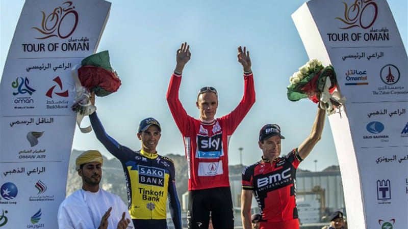 The Team Sky rider, centre, secured a 27-second win over two-time Tour winner Alberto Contador, left, in the six-stage race, with Cadel Evans, right, finishing third [AFP]