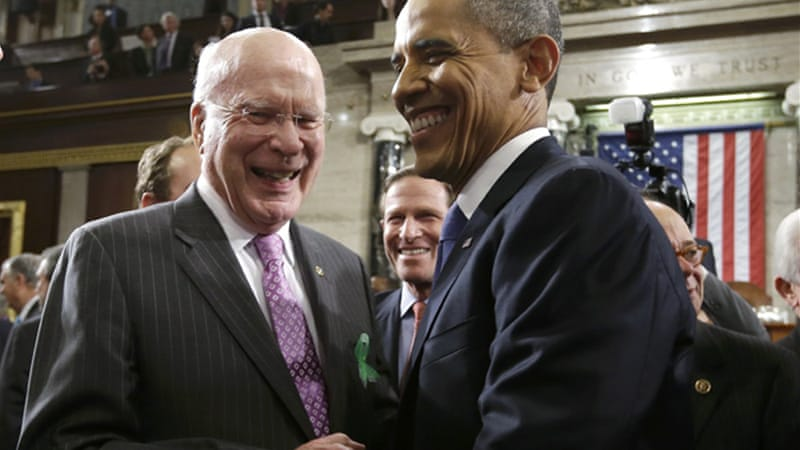 Senator Patrick Leahy (left) is leading the group on its three-day visit to Cuba [Reuters]