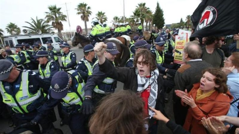 Police horses were brought to the Melbourne venue as protesters attempted to block the entrance [EPA]