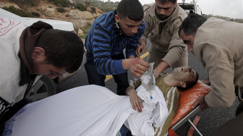 Two Palestinians were shot during demonstrations against Israeli settlements in the West Bank on Saturday [EPA]
