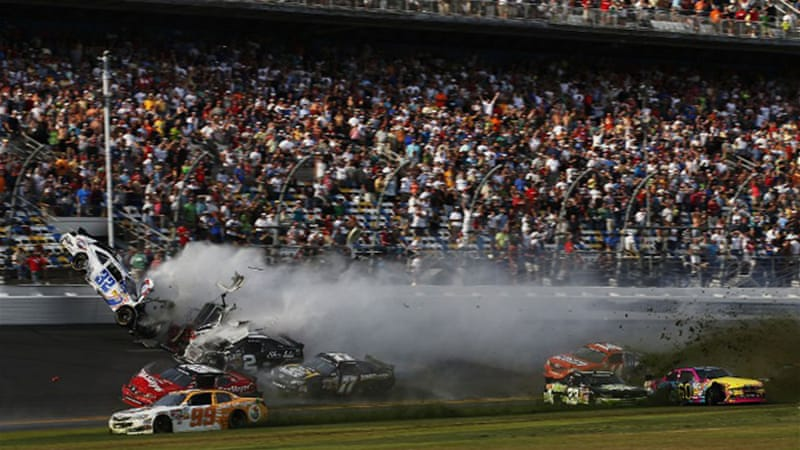 "The crash began when one racer's car ""threw a block"" causing the car to turn sideways [AFP]"