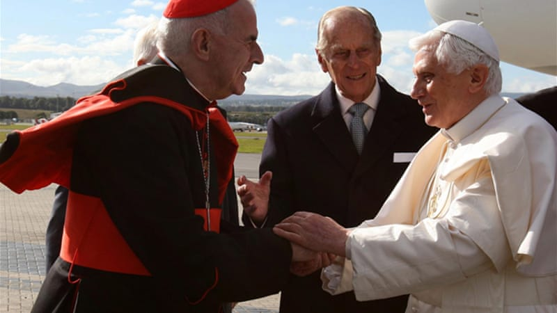 Cardinal Keith O'Brien, left, is among the 116 cardinals eligible to vote for the next pontiff [EPA]