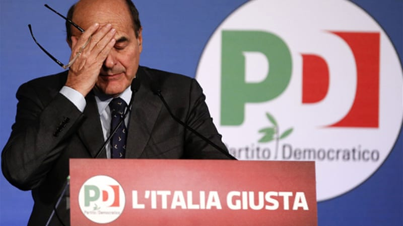 In remarks to ANSA news agency, Bersani admitted his party could not get a candidate voted in alone [File: Reuters]