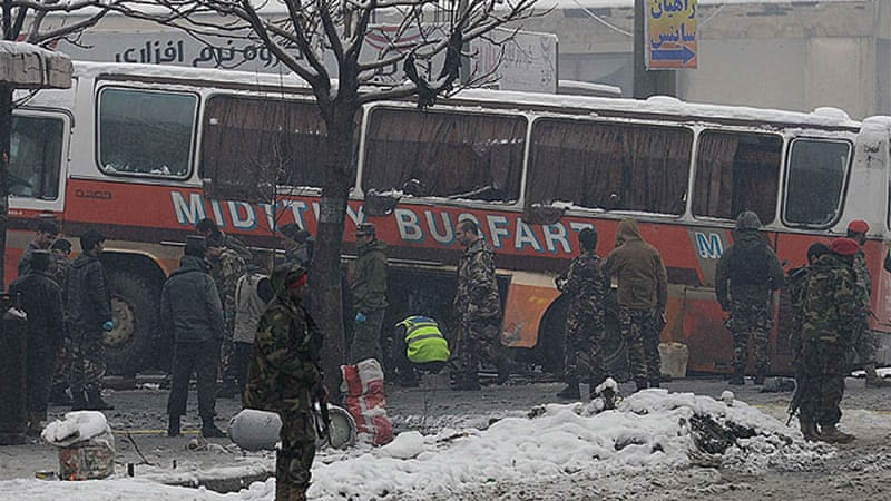 Afghan army personnel have been wounded after a bus carrying Afghan soldiers was attacked  [AFP]