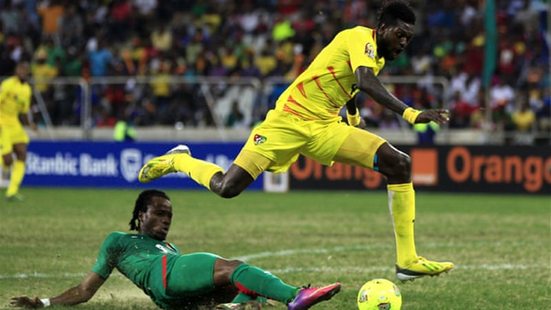 The loss to Burkina Faso at the Mbombela Stadium ended the campaign of Emmanual Adebayor's Togo, who were playing in their first Africa Cup of Nations quarter-final [AFP]