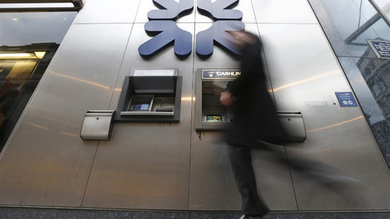 The British bank, which is 80 percent state-owned, will dip into staff bonuses to pay off the fines [Reuters]