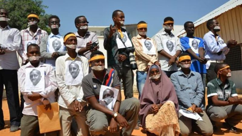 Journalists in Somalia have held demonstrations against the jailing of Abdiaziz Abdinur Ibrahim [AFP]