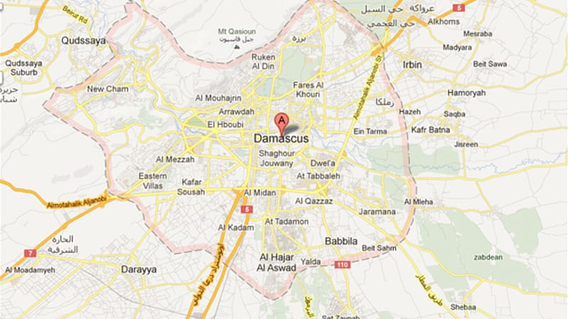 Regime forces are battling to retake control of an 8km belt around the capital [Google Maps]