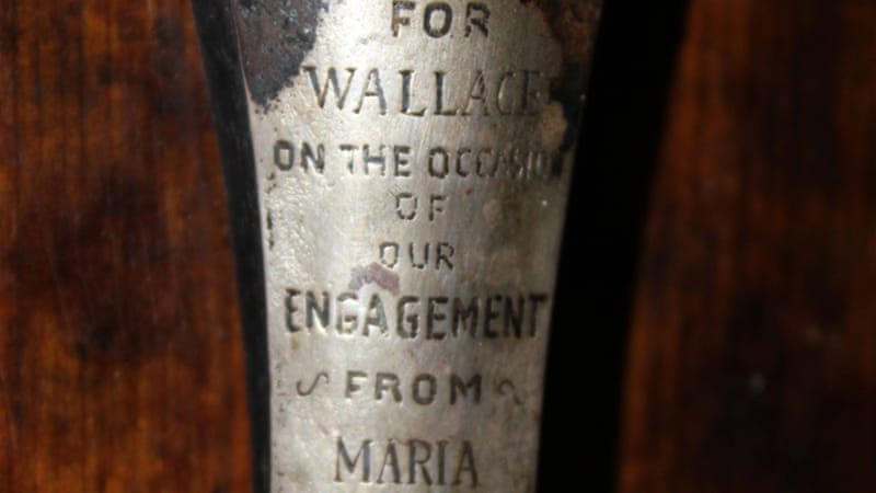 An engraved plate on the violin allegedly shows the instrument belonged to bandmaster Wallace Hartley [AFP]