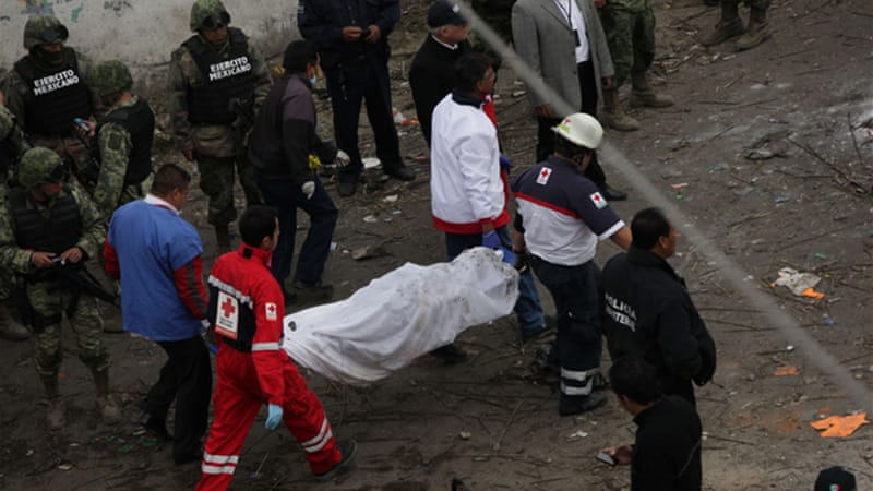 "One witness in the town of Jesus Tepactepec said he saw ""bodies flying"" as people ran for cover [AFP]"
