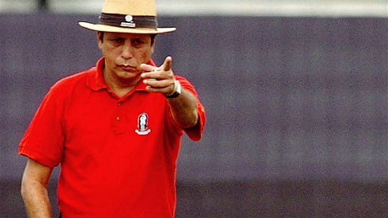 A sting operation by an Indian television channel found umpire Nadir Shah, pictured above in 2008, apparently willing to fix matches for cash [AFP]