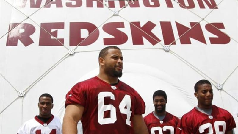 "Many fans of the Washington Redskins football team - including the Mayor of Washington, DC - try to avoid using the name at all costs, instead referring the team as ""our Washington football team"" [AP]"