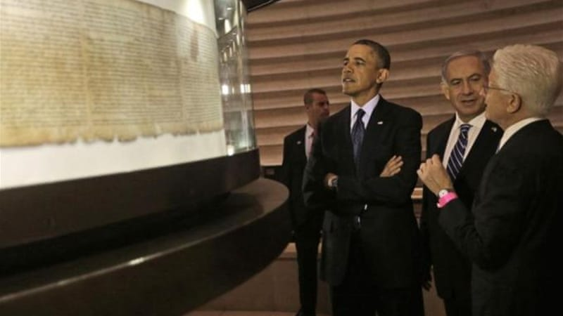 "When Obama viewed the Dead Sea Scrolls, ""he was in effect looking at stolen property"", says author [AP]"