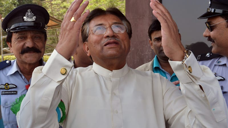 Musharraf filed nomination papers for four National Assembly constituencies and was rejected by three [AFP]