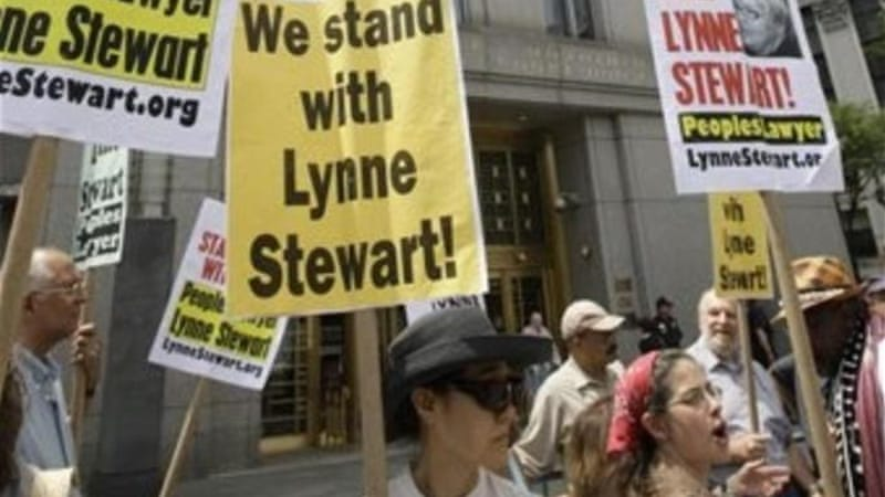 Supporters of activist attorney Lynne Stewart  gather near Federal Court Thursday, July 15, 2010 in New York [AP]