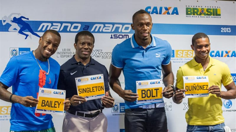 The Jamaican sprint star set the world best of 14.35sec over 150m in 2009, and will race on a track laid over the sand on Rio's Copacabana beach [AFP]