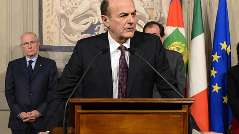 Bersani, the centre-left leader, said on Thursday that he did not secure enough support to form a government [EPA]