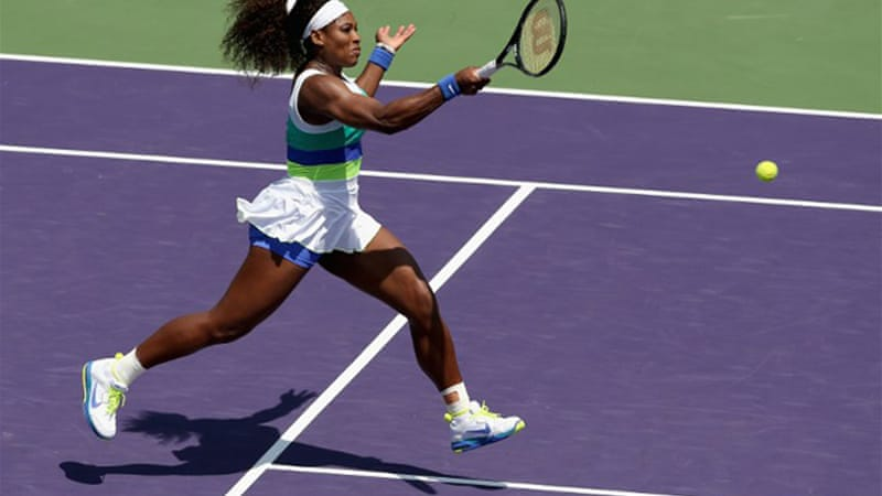 Williams took the title in Miami for a record sixth time to claim her 48th career tour title overall, to add to her wins in 2002, 2003, 2004, 2007 and 2008 [AFP]