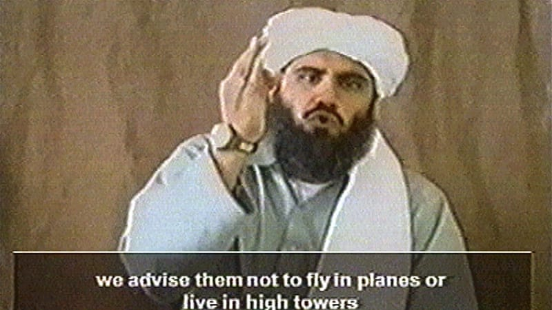 Still image from video obtained by Reuters news agency in 2002 shows man believed to be al-Qaeda spokesman Ghaith