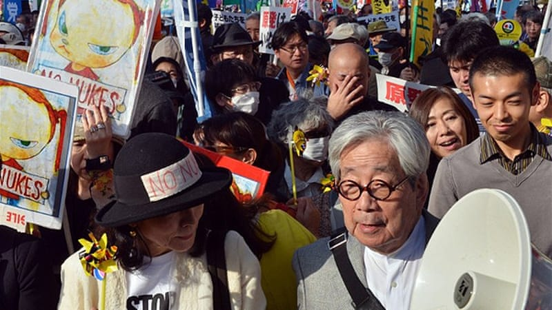 Nobel laureate writer Kenzaburo Oe, right, was among the speakers at an anti-nuclear rally in Tokyo [AFP]